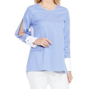 NWT Vince Camuto Blue Stripe Split-Sleeve Blouse
